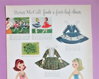 Vintage Betsy McCall Paper Dolls 1957 Magazine Ad Page Betsy Finds a 4 Leaf Clover Paper Ephemera Art Collectible DIY Scrapbooking Supply