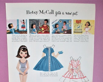 Vintage Betsy McCall Paper Dolls 1957 Magazine Ad Page Betsy Gets a New Pet Paper Ephemera Art Collectible DIY Scrapbooking Supply