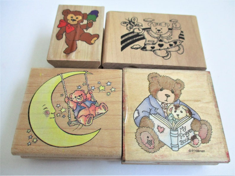 Rubber Stamp Lot 4 Teddy Bear Assorted Paper Craft Stamps DIY Birthday Invitation Card Making Stamping Scrapbooking Paper Arts Teddy Bears