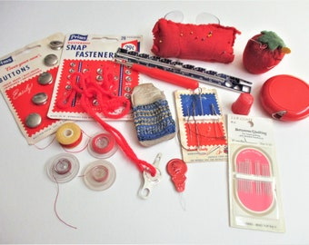 Vintage Sewing Supplies Notions 14 Piece Lot Strawberry Emery  Dean Retractable Tape Measure Bobbins Wrist Pin Cushion Leather Finger Guard