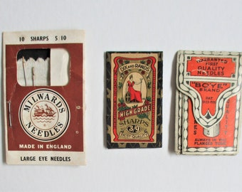 Antique & Vintage Needle Books Lot of 3 Dix and Rand Milwards Boye 1910 Era Sewing Supplies Notions