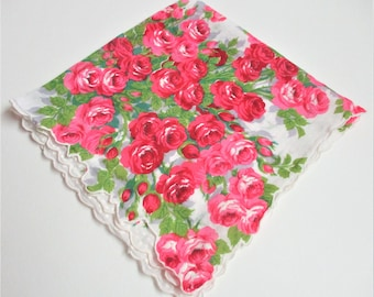 Red Roses Handkerchief Vintage Cutter Hanky Remnant Sewing Supply Vintage Sewing Notion Hat Making Gift Wrapping Supply