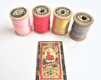 Antique Needle Book Plus Lot of 4 19th Century Clark's Wooden Thread Spools Dix and Rand 1800's to 1910 Era Sewing Supplies Notions