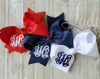 You Choose Colors...Monogrammed Medium or Large Hair Bow w Ballet Shoes\u2026Personalized Ballerina Hairbow with Initial or Monogram
