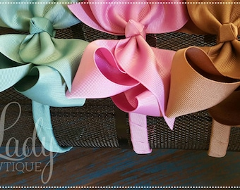 Large hair bows with attached headband- made to match Matilda Jane-chapter 2-once upon a time-headbands for girls-wrapped headbands-large