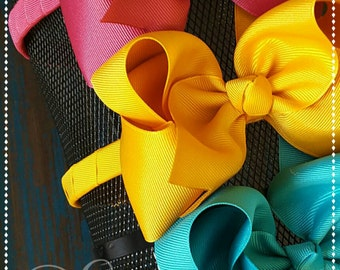 Large hair bows with headbands-made to match Matilda jane- once upon a time-headbands with bows-hard headbands ahead bands for girls-wrapped