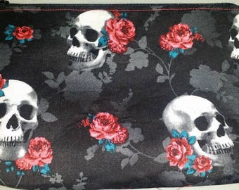 Skulls and Roses Cosmetic Bag