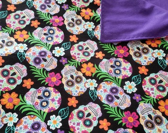 Sugar Skull Flannel Blanket