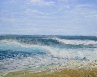 """Sea Painting, Sea waves, impressionist artwork, Acrylic on Canvas 10"""" x 12"""""""