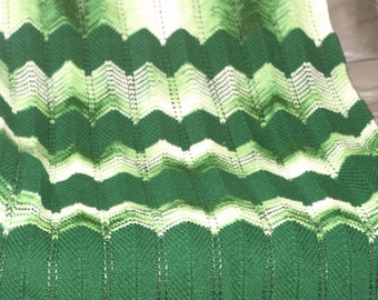 Green and White Crochet Afghan