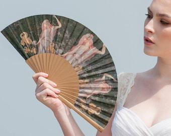 LILY: Art Nouveau style folding hand fan, women with lilies, fashion accessories, unique gift, canvas zipper pouch, makeup bag, menopause