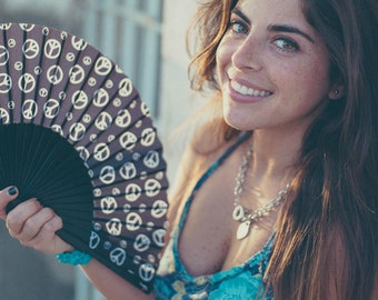 SIMPLY PEACE:  70s retro hand fan, summer fashion accessories, hippie style peace sign, black and white, canvas zipper pouch, makeup bag