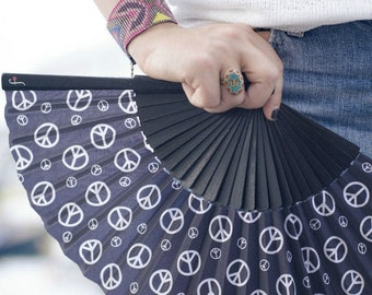 SIMPLY PEACE: 70s retro hand fan, summer fashion accessory, hippie peace sign, gift idea for her, menopause, hot flash relief, canvas pouch