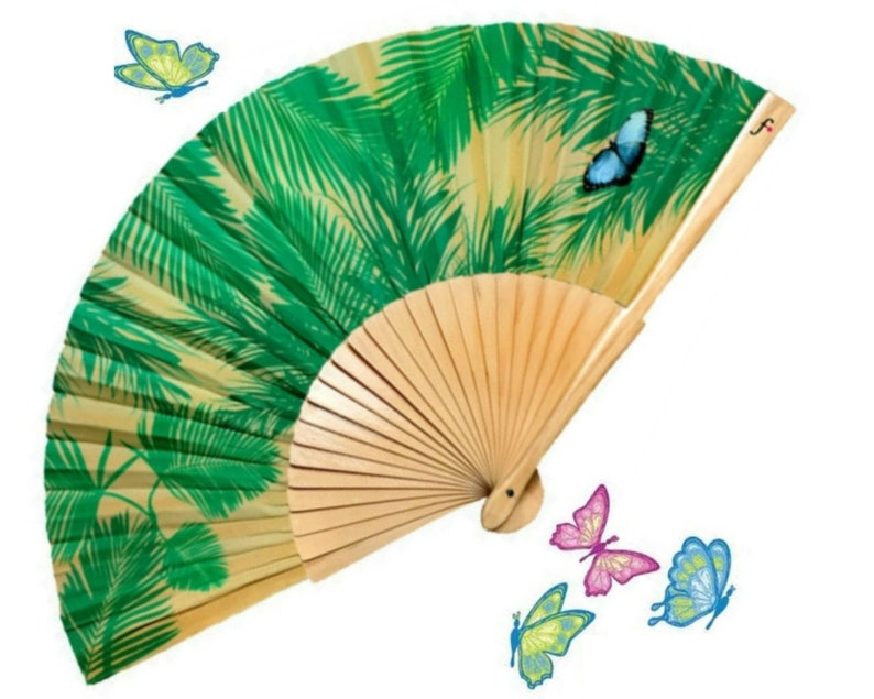 Folding HAND FAN green palm leaf print with blue butterfly image 0