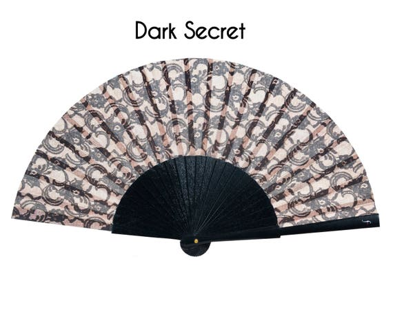 DARK SECRET menopause hot flashes relief Romantic black lace print folding fan with light peach color background unique gift for mom