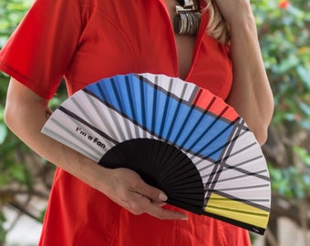 FOLDING HAND FAN   Mondrian inspired print   blue red yellow   unique gift for her   fashion accessories   Free Shipping Worldwide