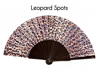 LEOPARD SPOTS: animal print handfan for women, summer fashion accessory, ecofriendly gift for animal lovers, canvas zipper pouch, makeup bag