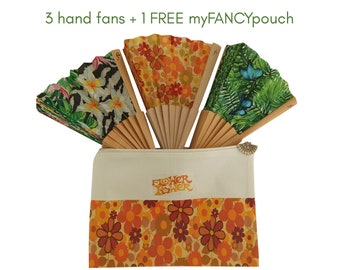 HOT SALE: Buy any 3 hand fans and get a free personalized myFANCYpouch of your choice - unique gift for her, eco friendly, pouch, church fan