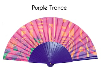 HAND FAN | 70s psychedelic purple print design | hippie style | unique gift | summer fashion accessory | Free Shipping Worldwide