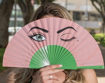 HAND FAN   Pop Art design with winking eye   green and red   summer fashion accessories   unique gift for her   Free Shipping Worldwide