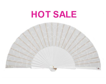 SALE: Folding Hand Fan PURE WHITE - wedding favor - bridal - bridesmade - romantic marriage - Free Shipping Worldwide