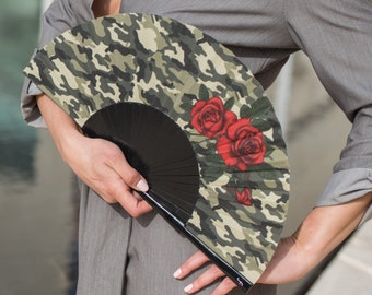 HAND FAN   camouflage print with red roses   unique gift   gift for her   fashion accessories   Free Shipping Worldwide