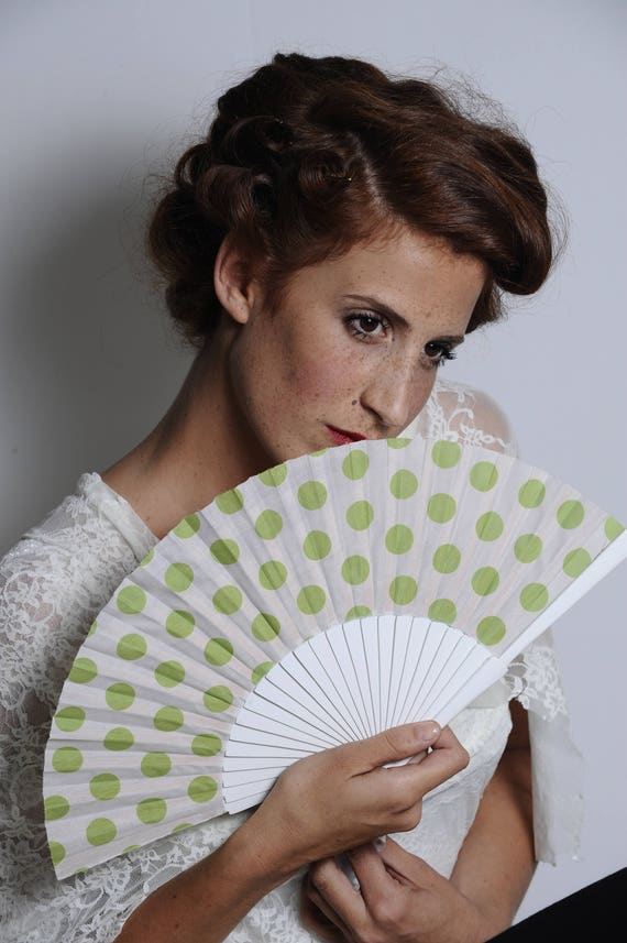 HAND FAN 50s retro style polka dots summer fashion accessories unique gift for her wooden fan wedding fan gift ideas for women Free Shipping