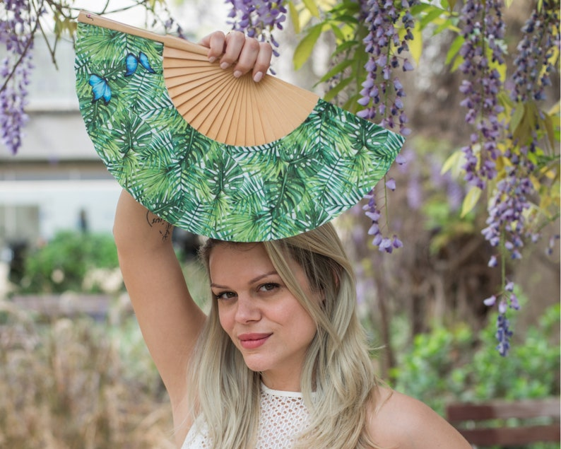 BLUE WINGS: tropical fern print hand fans for women gift ideas for her handheld fans summer fashion accessory blue butterflies