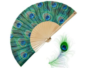 PEACOCKING: blue green peacock feathers print hand fan, unique gift for her, summer fashion accessories. eco friendly canvas zipper pouch