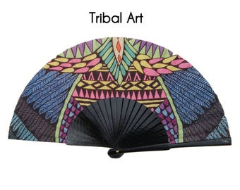 TRIBAL ART: African style hand fan for women, summer fashion accessories, ecofriendly gift for her, canvas zipper makeup bag, cottoon pouch