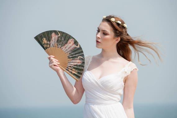 Light Blue floral Women/'s Folding hat-fan