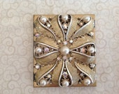 Vintage Square Compact with Pearls and Iridescent Rhinestones