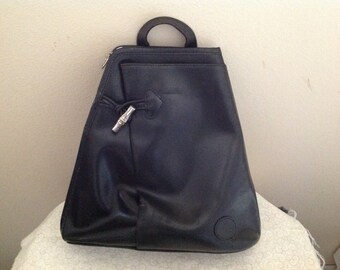 Vintage Longchamp Black Leather Used Backpack 1ec2130c80af2