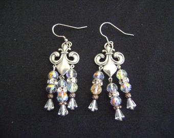 Elegant  Earrings Sterling Silver and Swarovski Crystals