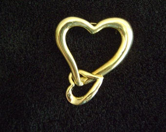 Vintage Gold tone Double Heart Brooch