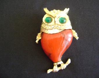 Gold tone Owl with Rhinestones Brooch