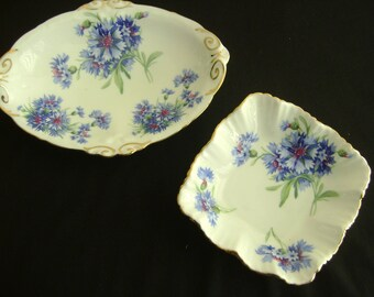 Vintage Hammersley Dishes Made in England Bone China Blue Corn Flowers
