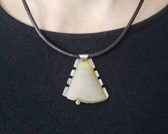 sterling silver jasper pendant Modern pendant with green gemstone unique statement pendant women pendant aesthetic pendant