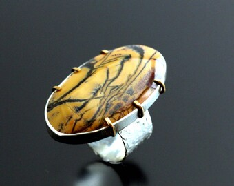Statement Ring, Mixed Metals Ring, Yellow Feather Jasper, Big Stone Ring, Size 7.5, Handmade, Artisan, Unique, OOAK, Gift for Her, Boho ring