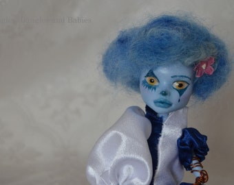Abbey Bominable ooak Monster High repaint faceup art doll clown circus acrobat jester joker harlequin collectible customized prosthetic arm