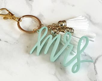 MRS Keychain with 3 Mini Tassels | Gold or Silver Accent | MRS in multiple colors | Gift Tag | Bridal Shower | Bride | Newlywed | Leather