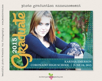 College graduation announcement etsy printable photo graduation invitation announcement 2015 college high school middle school elementary school colors changeable filmwisefo