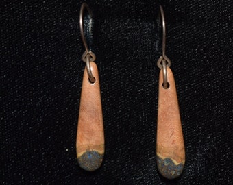 Madrone Earrings inlaid With a Dark Azurite