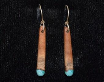 Manzanita Wood Earrings with Chrysocolla