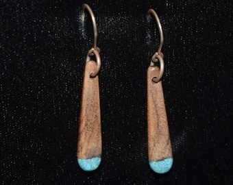 Black Walnut Earrings with Turquosie