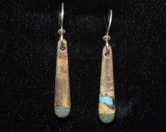 Buckeye Burl Earrings with Turquoise & 'Oregon Green Stone'