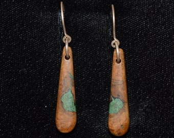 Oak Burl Wood Earrings Inlaid With Malachite