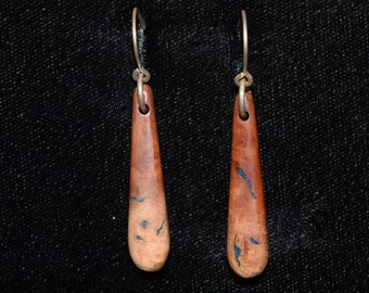 Manzanita Earrings: Inlaid With Lapis Lazuli