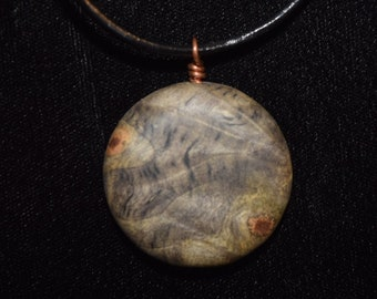 Buckeye Burl Wood Pendant Wrapped in Copper