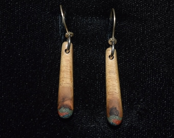 Myrtle Wood Earrings with Azurite, 'Pipestone' & 'Oregon Green Stone'